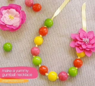 Gum ball necklace with a clip on flower.
