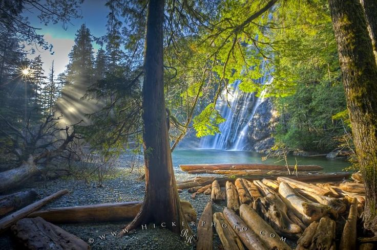 Picture of the scenic Virgin Falls, a surreal waterfall on the West Coast of Vancouver Island seen through the trees.