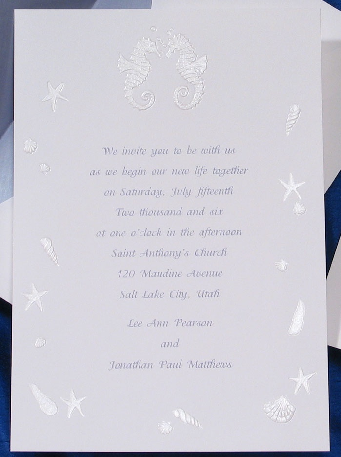 wedding invitation wording with no reception%0A This nautical invitation features the most romantic creature of the sea   Seahorses  They mate  Nautical InvitationsBeach Wedding InvitationsReception
