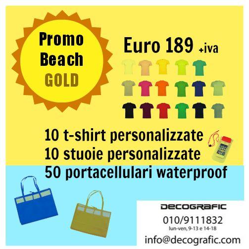 #Promobeach GOLD su #tshirt e stuoie personalizzate con il tuo logo + portacellulari waterproof. Offerta valida fino alle ore 18 del 2 luglio 2014. Per ordini: www.decografic.com/contatti.html