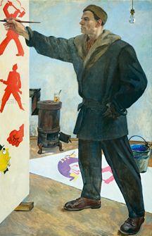 Mayakovski en la Agencia ROSTA Aleksandr Deineka Oleo sobre lienzo 1941 203 x 140 cm Museo Literario Central del Estado, Moscú