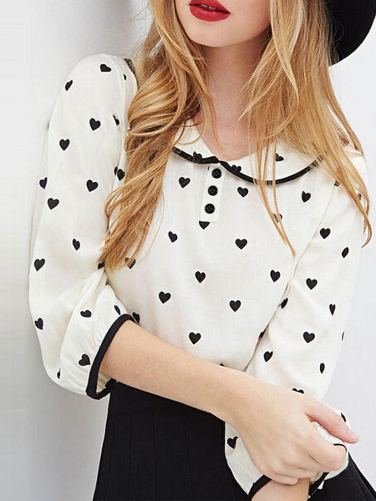 White Heart Pattern 3/4 Sleeve Maid Collar Chiffon Blouse