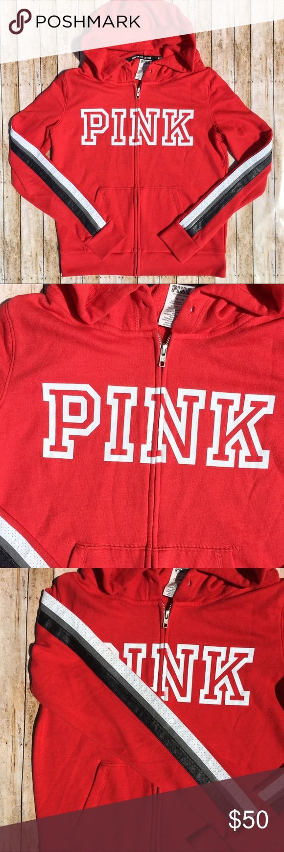 PINK Limited Edition Faux Leather Striped Hoodie PINK Victoria's Secret Limited Edition Faux Leather Striped Zip Up Hoodie. Excellent condition but missing hoodie strings PINK Victoria's Secret Tops Sweatshirts & Hoodies
