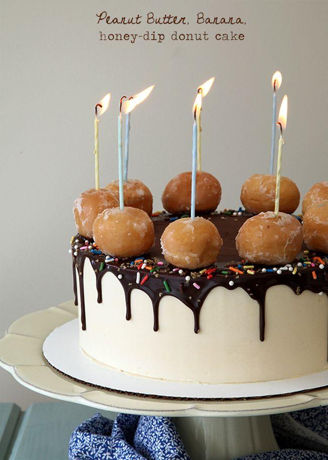 Brett's Peanut Butter Banana Honey Dip Donut Cake!! See the full recipe of this amazingly cute cake idea. #donutcakes