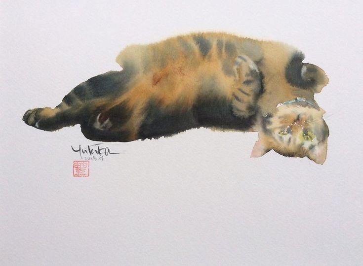 Акварельные кошки японского художника Ютэка Мураками (Yutaka Murakami). Обсуждение на LiveInternet - Российский Сервис Онлайн-Дневников