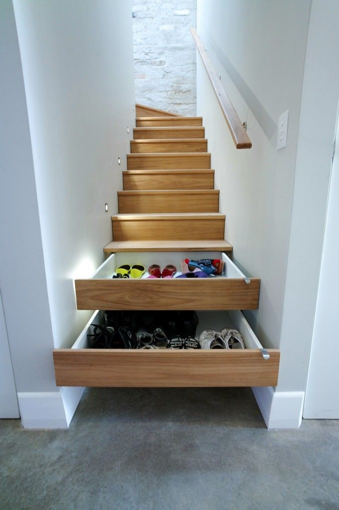 home interior design stairs%0A Instead of letting your shoes clutter up your entrance way or take up  valuable closet space try this out  Transform some stair steps