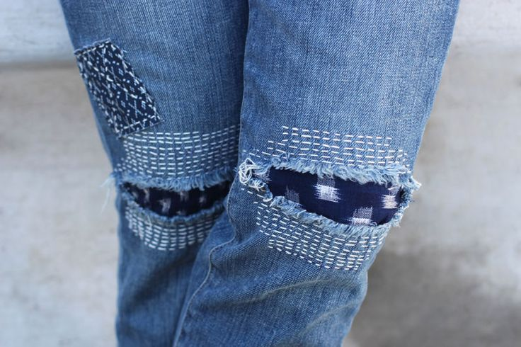 You can also stitch patches over the rips and openings. Play around with the positions and stitching! Happy Mending