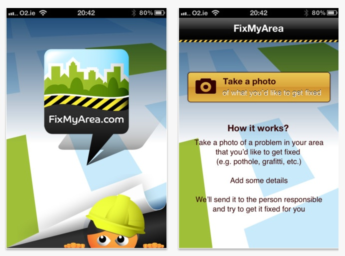 FixMyArea is an easy to use native iPhone application, created by Netguru for Locate Online Ltd, that enables its users to report a local problem by posting a photo with an issue description and matching it with a specific location on a map of Ireland.  The app is already available for purchase in Itunes Store! (objective c, cocoa touch, RESTkit) Don't forget to visit http://fixmyarea.com too!