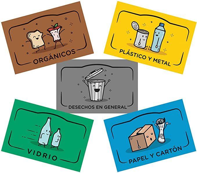 Rekay Pegatinas Para El Reciclaje 5 Etiquetas Adhesivas Para Reciclar Y Separar Residuos Etiqueta Cada Cubo D Cubo De Basura Reciclaje Basura Cubos Reciclaje