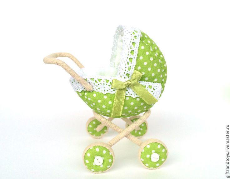 Купить Колясочка - зеленый, в горошек, колясочка, коляска для кукол, игрушки для девочек, интерьерная игрушка
