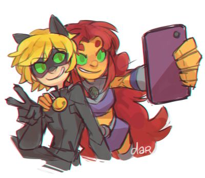 (Miraculous: Tales of Ladybug and Cat Noir/Teen Titans) Cat Noir and Starfire