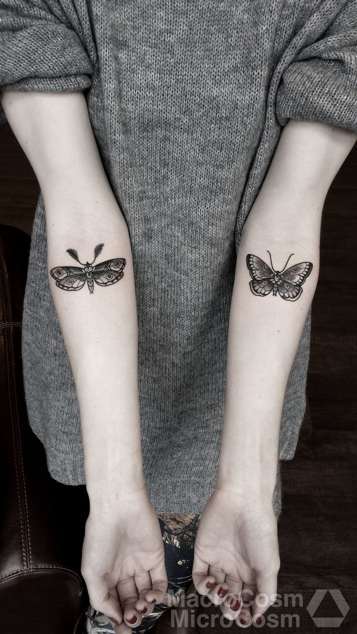 Love the idea of a moth tattoo with a butterfly tattoo, could symbolize day and night, dark and light, or even seasons. Love love love it.