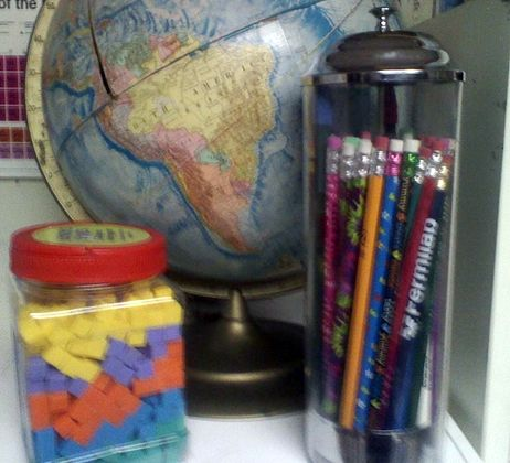 Corner of my Classroom! Use a straw dispenser to hold pencils!