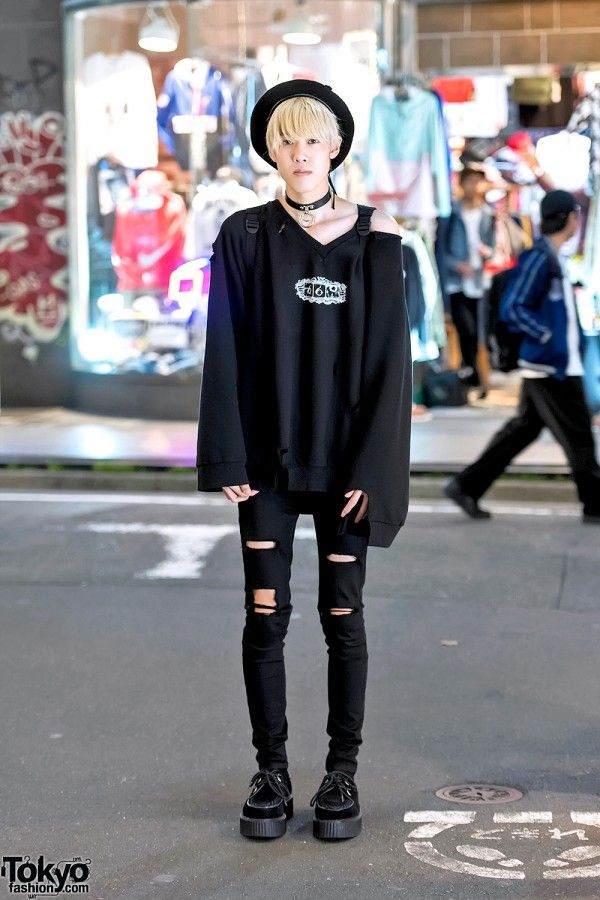 Kohei is an 18-year-old Japanese student whose monochrome look caught our eye on the street in Harajuku. Kohei is wearing a ripped sweatshirt by chiiiky (from Never Mind the XU) with black ripped skinny jeans black Demonia creepers, a black beret, o-ring choker, and a backpack by the Japanese streetwear brand Little Sunny Bite. Kohei's favorite Harajuku boutiques Never Mind the XU and DOG. He likes the music of Sekai no Owari.