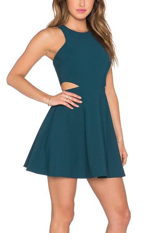 Detalle vestido turquesa Una línea con el recorte - US$21.95 -YOINS