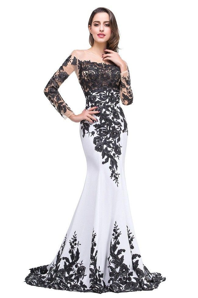 6bb0ee0b508 ... Women S Evening Dresses. Mermaid Illusion Neckline Long Sleeve Black  And White Satin Lace Prom Dress