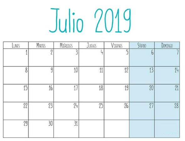 Calendario Julio 2019 Mr Wonderful.Calendario Julio 2019 Con Festivos Formato Diseno De Formato