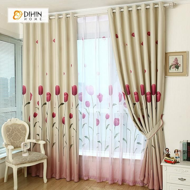 dihin home red flowers printed blackout grommet window curtain for rh pinterest com