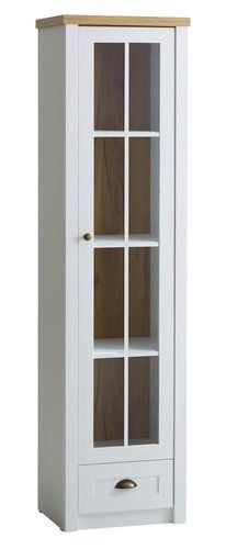Vitrína MARKSKEL 1 dvere biela/dub | JYSK