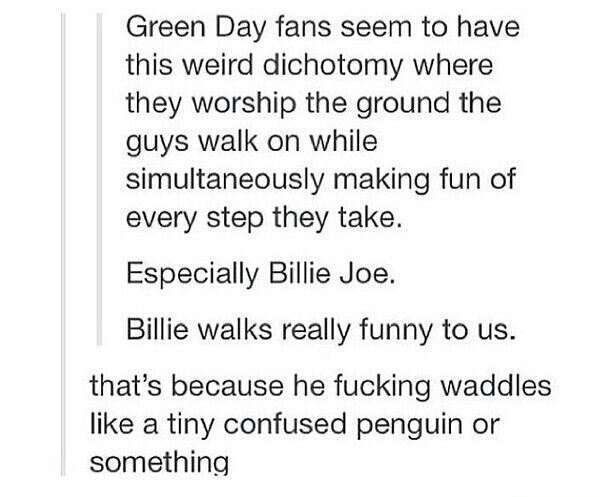 Green Day Fans summed up XD And that is true xD We are all allowed to make fun though