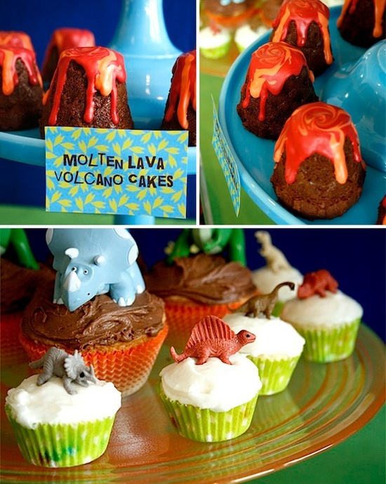 put little plastic dinosaurs from dollar tree/dollar store on top of store bought cupcakes?
