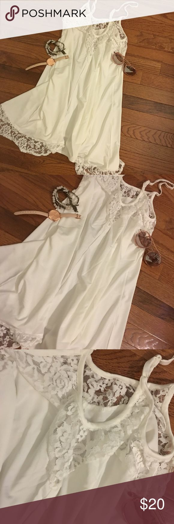 White Lace Cami/Slip: 1 Small 2 Medium LEFT! NWT! I have 2 Medium, 1 Small...wear under kimono or cute little jacket. Pair with skinny jeans, heels, etc... $20 each!  ** jewelry not for sale**. Tops Camisoles