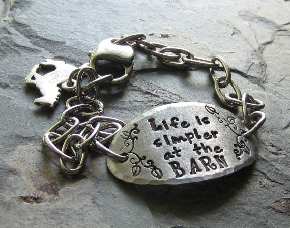 Handstamped Horse Quote BraceletStainless by EquineExpressionsbyD
