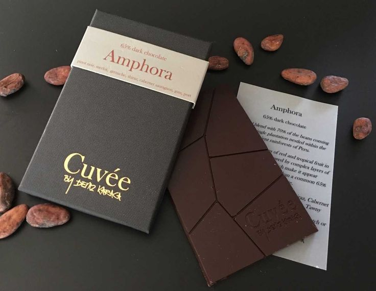 AMPHORA 65% Dark Chocolate by Cuvée Chocolates  Amphora is a bold blend with 70% of the beans coming from a single plantation nestled within the ancient rainforests of Peru.  Strong impressions of light red and tropical fruit in the front palate, followed by complex layers of natural acidity which make it appear considerably less sweet than a common 65% dark chocolate.  Net Weight: 70g