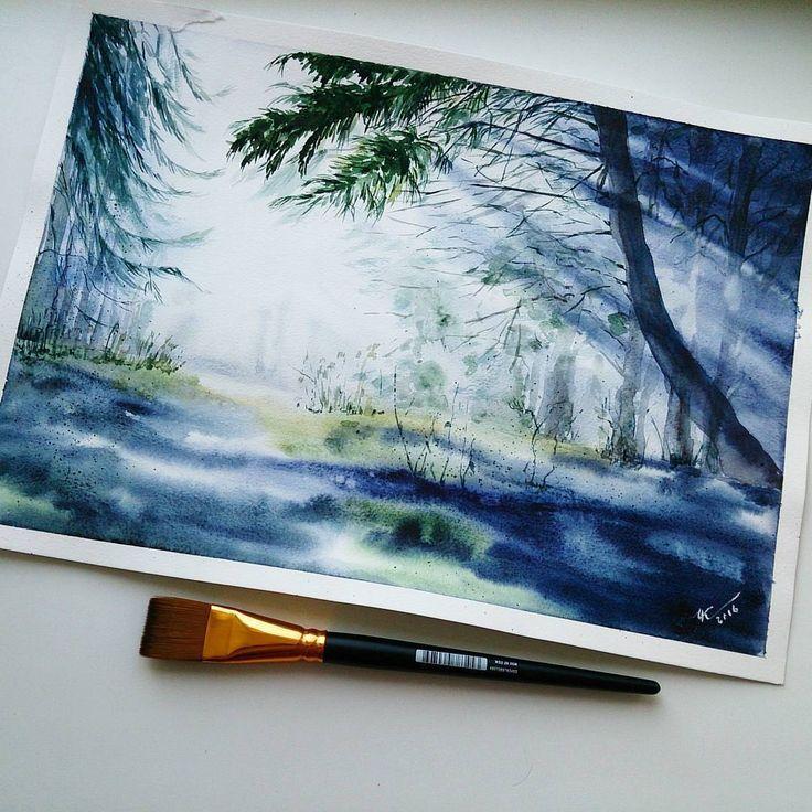 Pretty blue forest watercolor painting. Watercolorist: @knyazeva