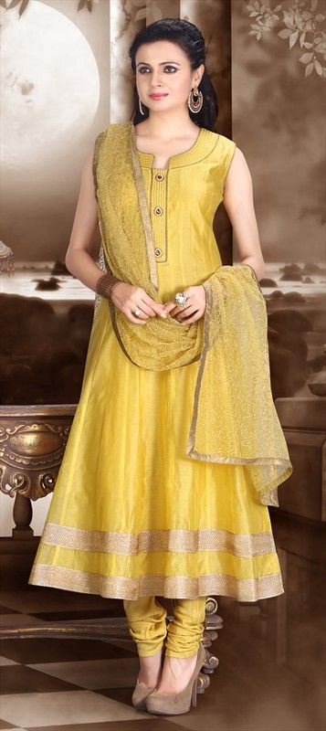 443047 Yellow  color family Anarkali Suits in Chanderi fabric with Lace work .