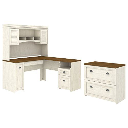 bush furniture fairview l shaped desk with hutch lateral file rh pinterest com