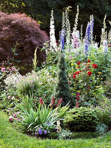 "6 Steps to a ""NO WORK"" Cottage Garden:  ""While formal gardens thrive on order and well-defined spaces, cottage gardens bubble in cheerful tangles of flowers that form a kaleidoscope of hue and texture."""