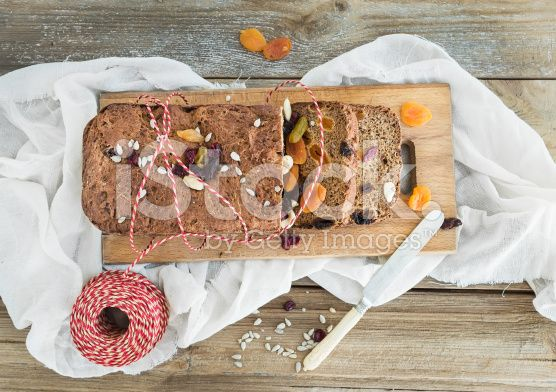 Home-made whole grain Christmas bread with dried fruit, seeds an royalty-free stock photo