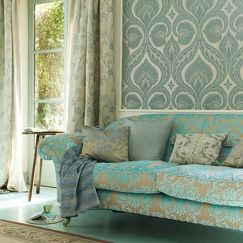 sultry: Wall Patterns, Colors Patterns, Idea, Living Rooms, Design Guild, Wallpapers Patterns, Blue Green, Sofas, Patterns Mixed