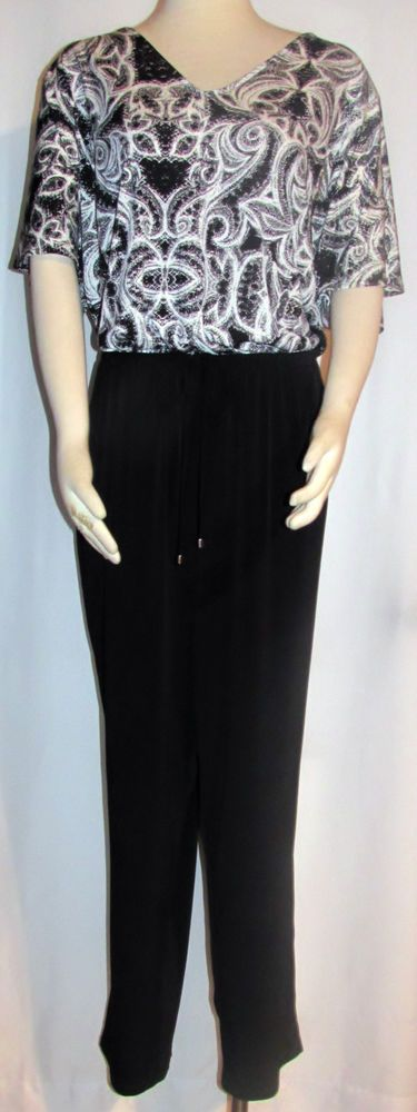 NEW Womens Ladies Plus NY COLLECTION Soft White Black Silky Stretch Jumpsuit 3X #NYCollection #Jumpsuit