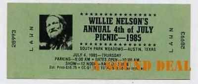WILLIE NELSON 4th of July Picnic Ticket Unused Austin Texas 1985