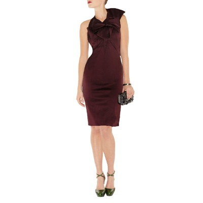 Karen Millen Signature Stretch Satin Dress Purple