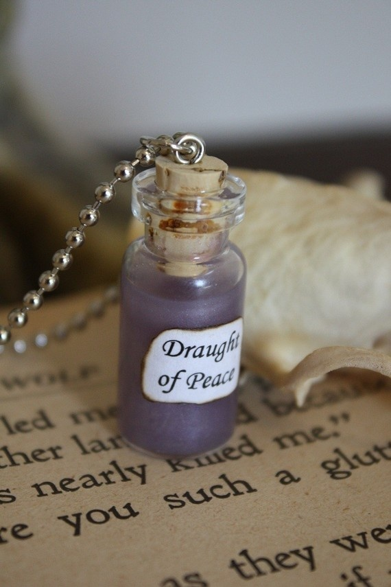 Harry Potter Potion  Draught of Peace Vial Necklace by spacepearls, $12.00