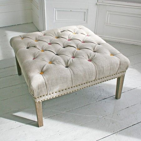 Bath Button Footstool With Coloured Buttons - Chairs & Armchairs - Furniture