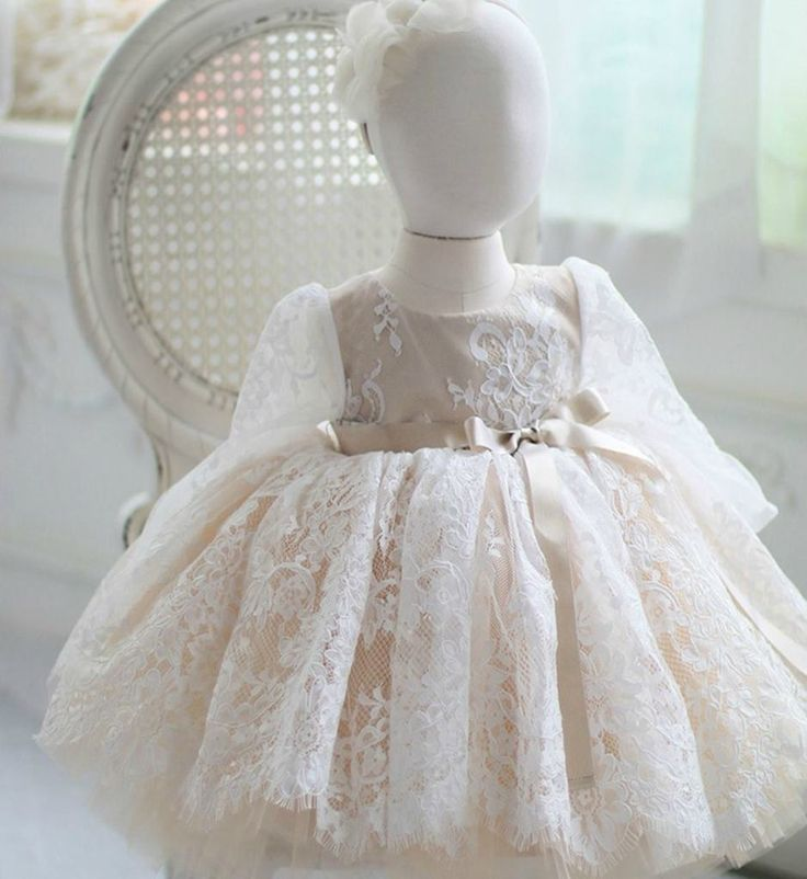 Embroidered Floral Lace Dress--Made To Order - High Quality Beautiful Round Neckline Long Sleeve Knee Length Baby Infant Toddler Little & Big Girl Embroidered Flower Lace Dress With Ribbon Sash Belt. Perfect dress for your little flower girl, birthday party, baptism, communion or any occasion. Available from 9 month until 15 years old. Material: Cotton, satin. Color: White & Champagne -Tan. Please do compare your  little girl measurements with our size chart.