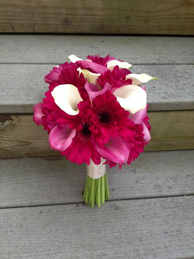 hot pink gerberas, pink and white calla lilies, wedding ...