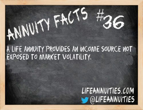 Annuity Facts #36: A life annuity provides an income source not exposed to market volatility.  http://www.lifeannuities.com/annuityfacts/36.html