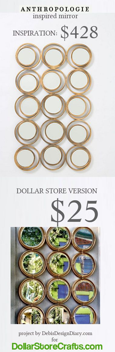 anthropologie mirror for $25. I KNEW there had to be some way to DIY this crazy expensive anthro mirror! i was thinking mason jar lids somehow, but this makes more sense :)