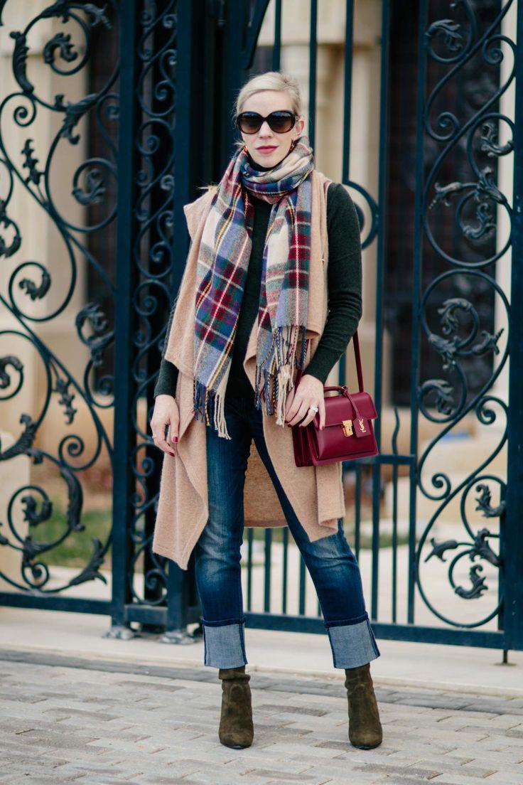 Holiday Layers: Camel Vest, Plaid Scarf & Red Handbag