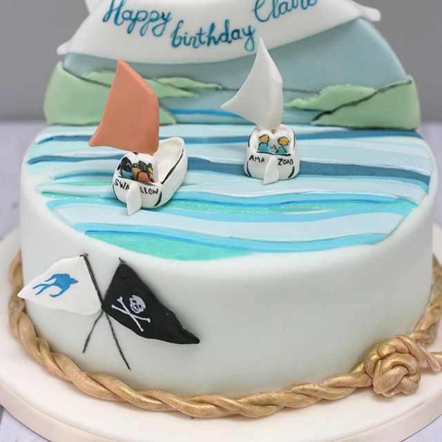 Swallows & Amazons hand-painted celebration cake. Making this made me all nostalgic! | Sugar Plum Bakes