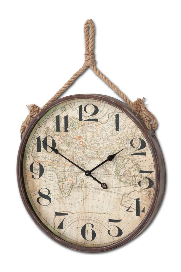 668 best clocks images on pinterest diy cat home and creative walls lend a touch of industrial chic appeal to your entryway or master suite with this handsome wall clock showcasing an antiqued map motif and a charming rope amipublicfo Images
