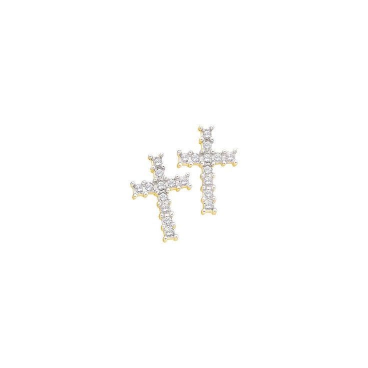 1-10CTW-Diamond CROSS EARRING