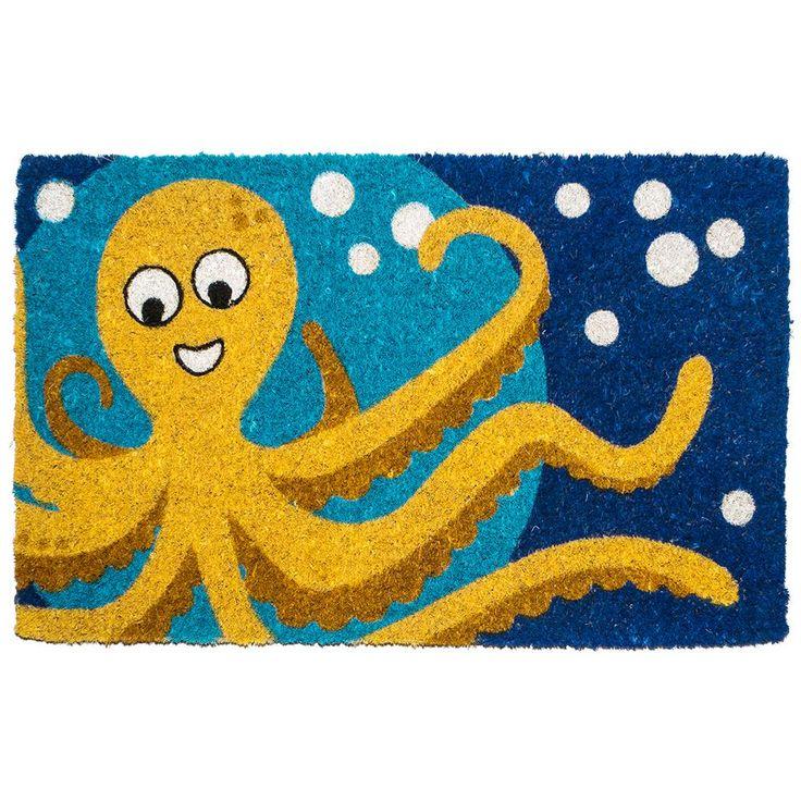 Octopus 18 in. x 30 in. Hand Woven Coconut Fiber Door Mat, Orange/Dark Blue