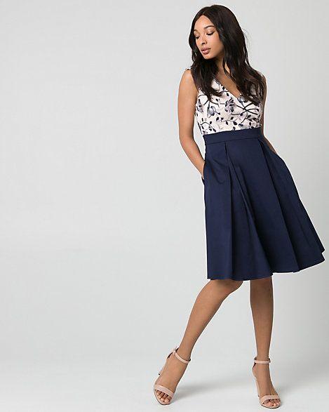 LE CHÂTEAU: Embroidered Mesh V-Neck Dress