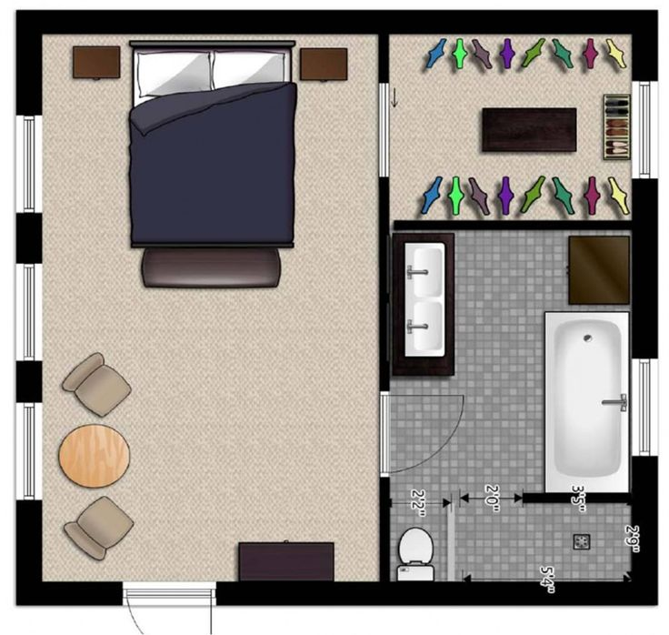 Master suite floor plans in easy flow design large for for Master bedroom and bath plans